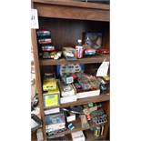 WOOD CABINET w/ CONTENTS, CARS, DC-10, ETC.