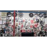 CONTENTS ON PEG BOARD WHEEL MIRRORS, HUBCAPS, HANDLES, MOUNTIN KITS