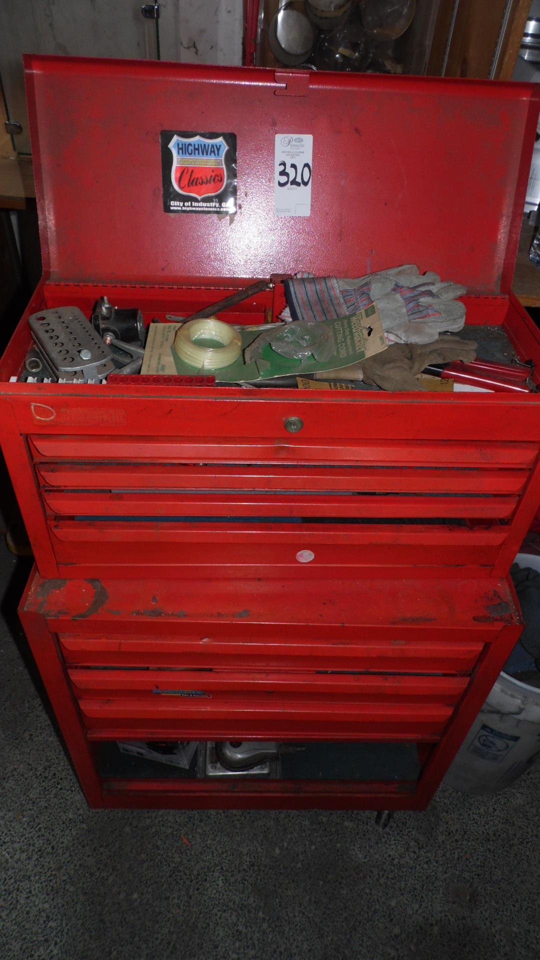 Lot 320 - RED TOOL BOX w/ TOOLS