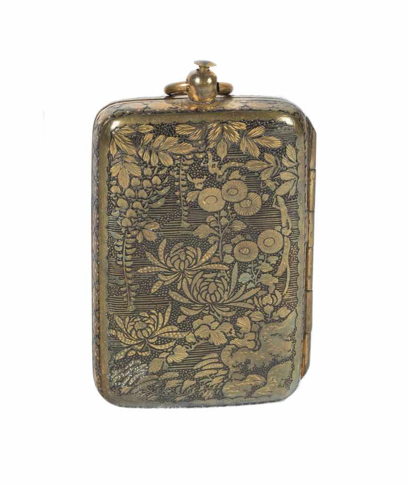 A Japanese inlaid iron Komai style miniature coin purse. Meiji period. 19th Century.6 x 3,5 cm.
