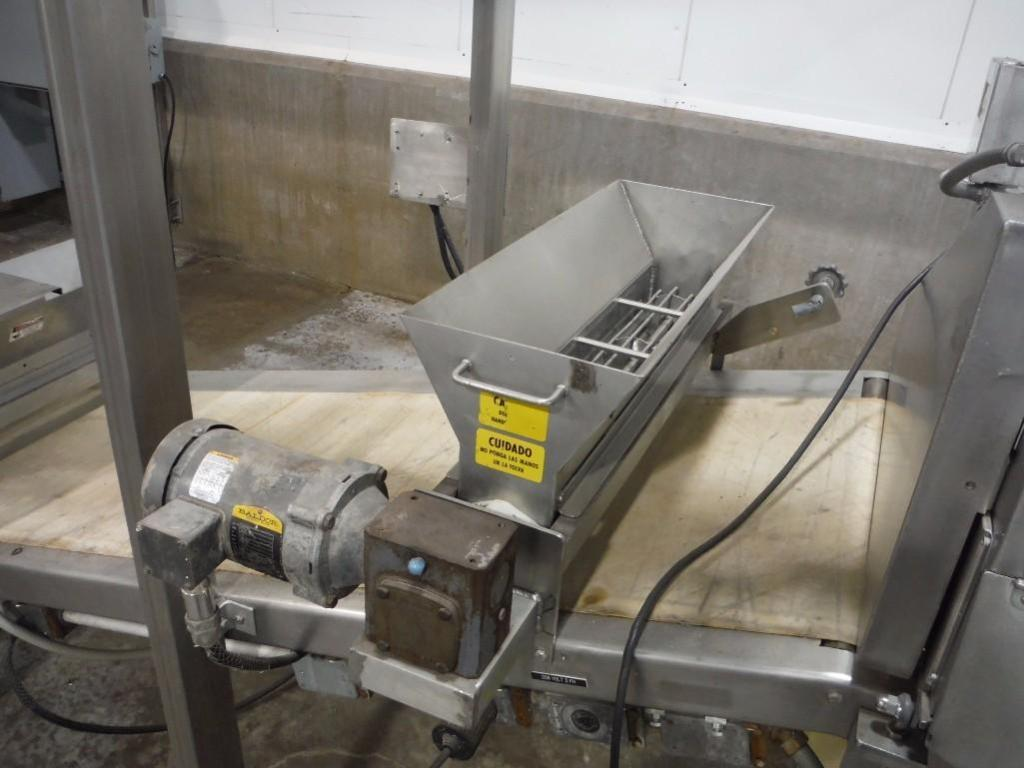 Make-up table with poly sheeter, multiroller, 2 flour dusters, overhead scrap conveyor, guillotine, - Image 3 of 12