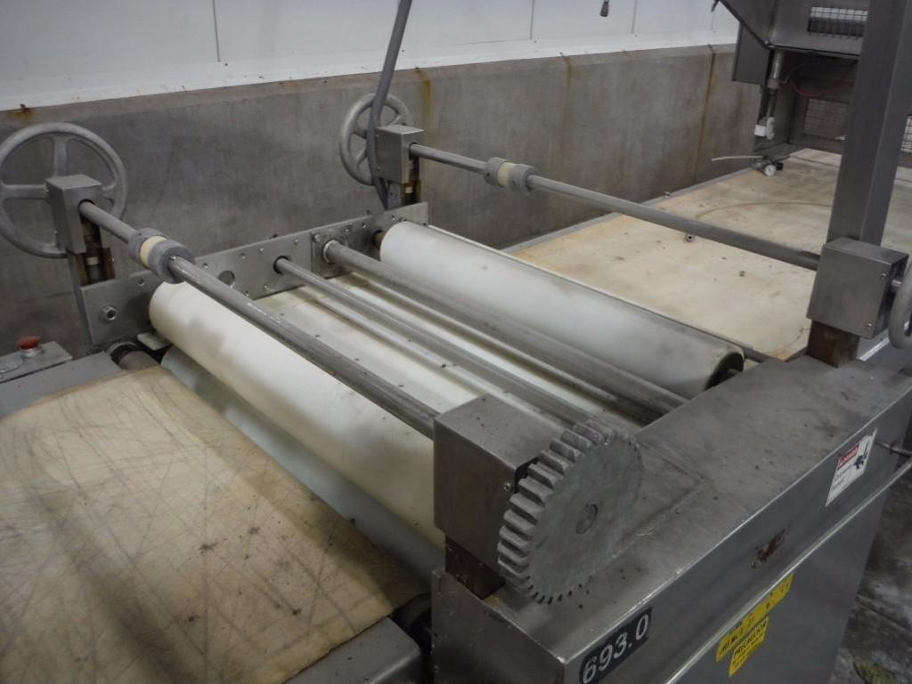 Make-up table with poly sheeter, multiroller, 2 flour dusters, overhead scrap conveyor, guillotine, - Image 7 of 12