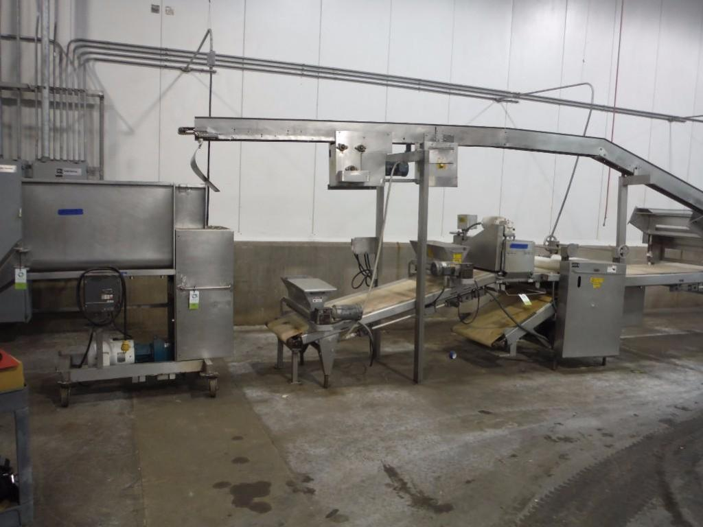 Bulk bid of lots 41, 42, 43, 44, (1) SS extruder, 46 in. long x 18 in. wide x 28 in. tall hopper, (1