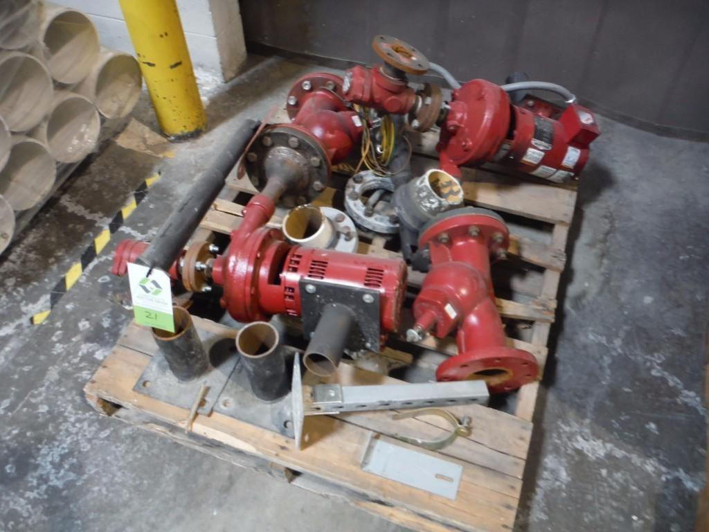 Assorted pumps and flanges / Rigging Fee: $25