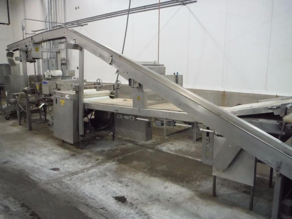 Make-up table with poly sheeter, multiroller, 2 flour dusters, overhead scrap conveyor, guillotine, - Image 10 of 12