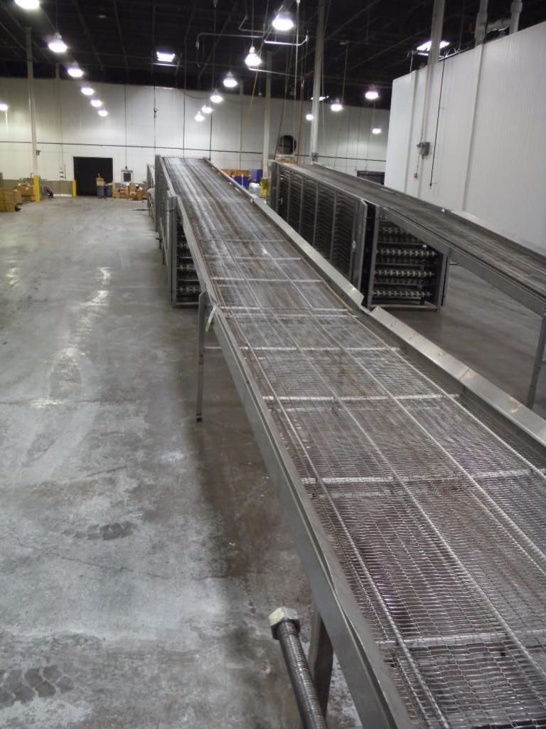 Lawrence equipment cooling conveyor, 50 ft. long x 36 in. wide x 28 in. infeed x 38 in.discharge, 9 - Image 3 of 6