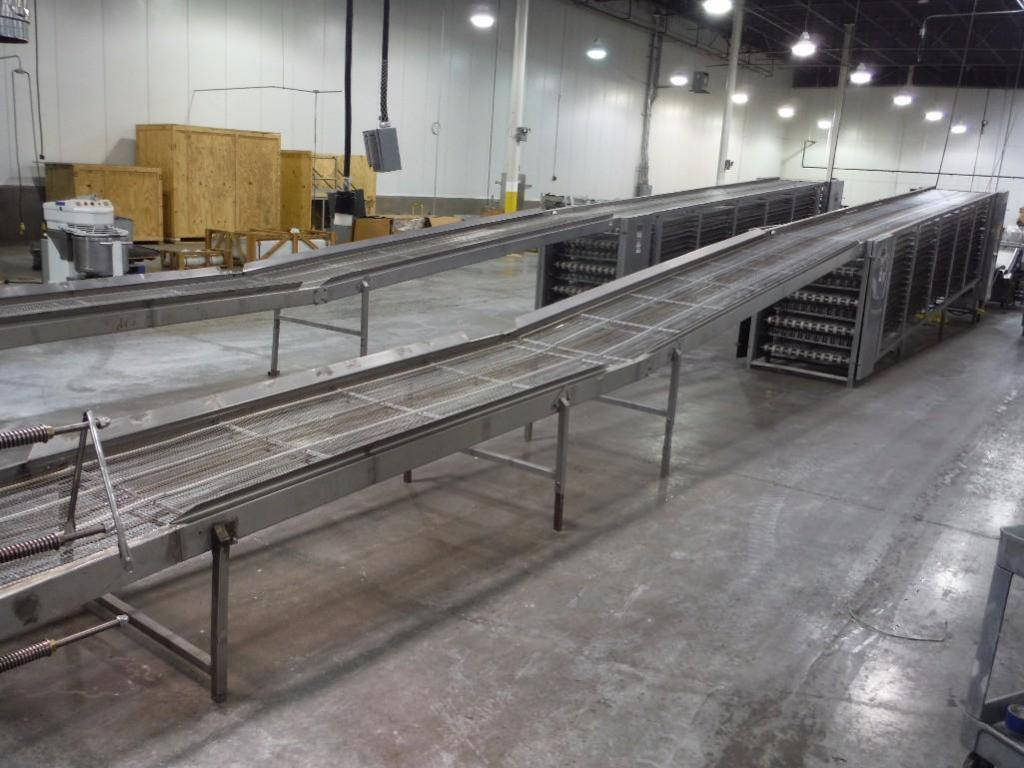 Lawrence equipment cooling conveyor, 50 ft. long x 36 in. wide x 28 in. infeed x 38 in.discharge, 9