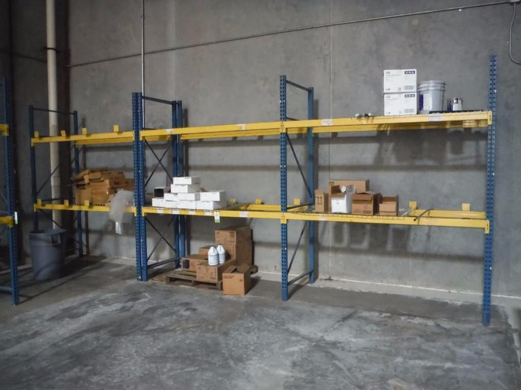 (3) sections of pallet racking, 96 in. long x 42. in deep x 120 in. tall / Rigging Fee: $200