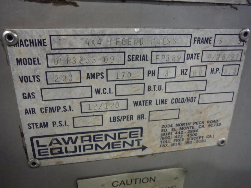Lawrence equipment 4x4 legend press, Model OFP3233-09, SN FP389, 33 in. x 33 in. / Rigging Fee: $650 - Image 2 of 7