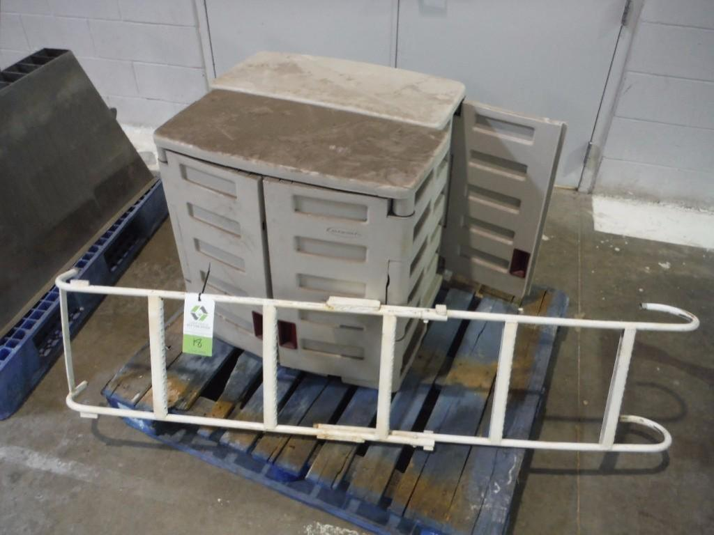 (2) poly storage cabinets, (1) hook ladder / Rigging Fee: $25
