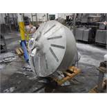SS weigh hopper, 60 in. diam x 72 in. tall, 8 in. infeed x 8 in. discharge / Rigging Fee: $150