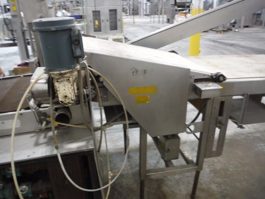 Make-up table with poly sheeter, multiroller, 2 flour dusters, overhead scrap conveyor, guillotine, - Image 12 of 12