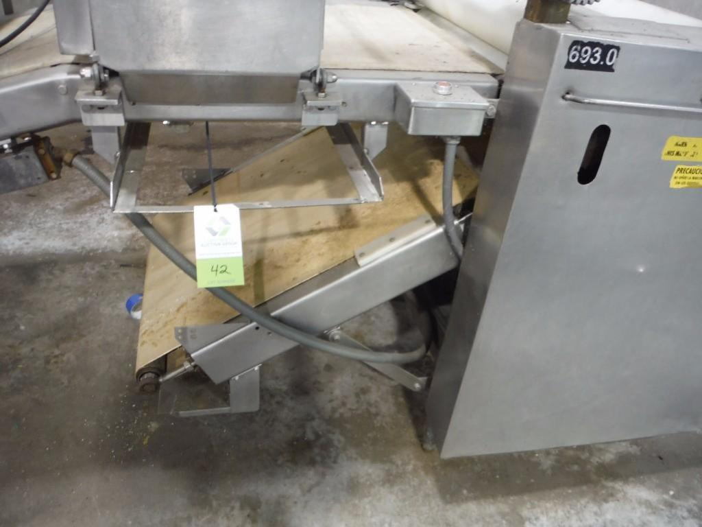 Make-up table with poly sheeter, multiroller, 2 flour dusters, overhead scrap conveyor, guillotine, - Image 6 of 12