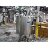 SS jacketed mix tank, lightnin agitator, 40 in. dia x 41 in. tall, on load cells / Rigging Fee: $200