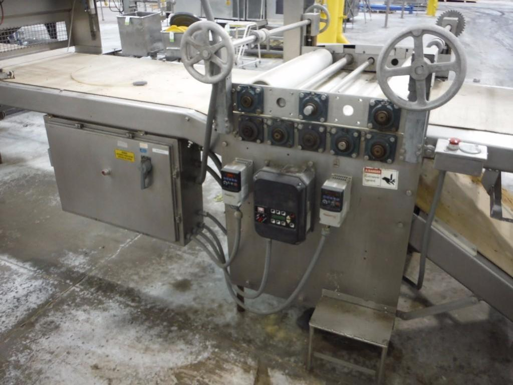 Make-up table with poly sheeter, multiroller, 2 flour dusters, overhead scrap conveyor, guillotine, - Image 11 of 12
