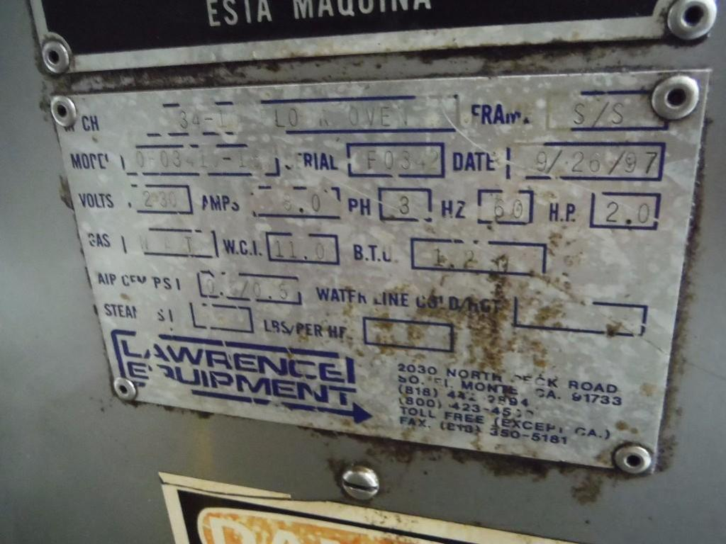 Lawrence 3 pass oven, Model 0F03410-15, SN F0342, 1,000,000 BTU, Natural Gas, 108 in. long x 36 in. - Image 6 of 6