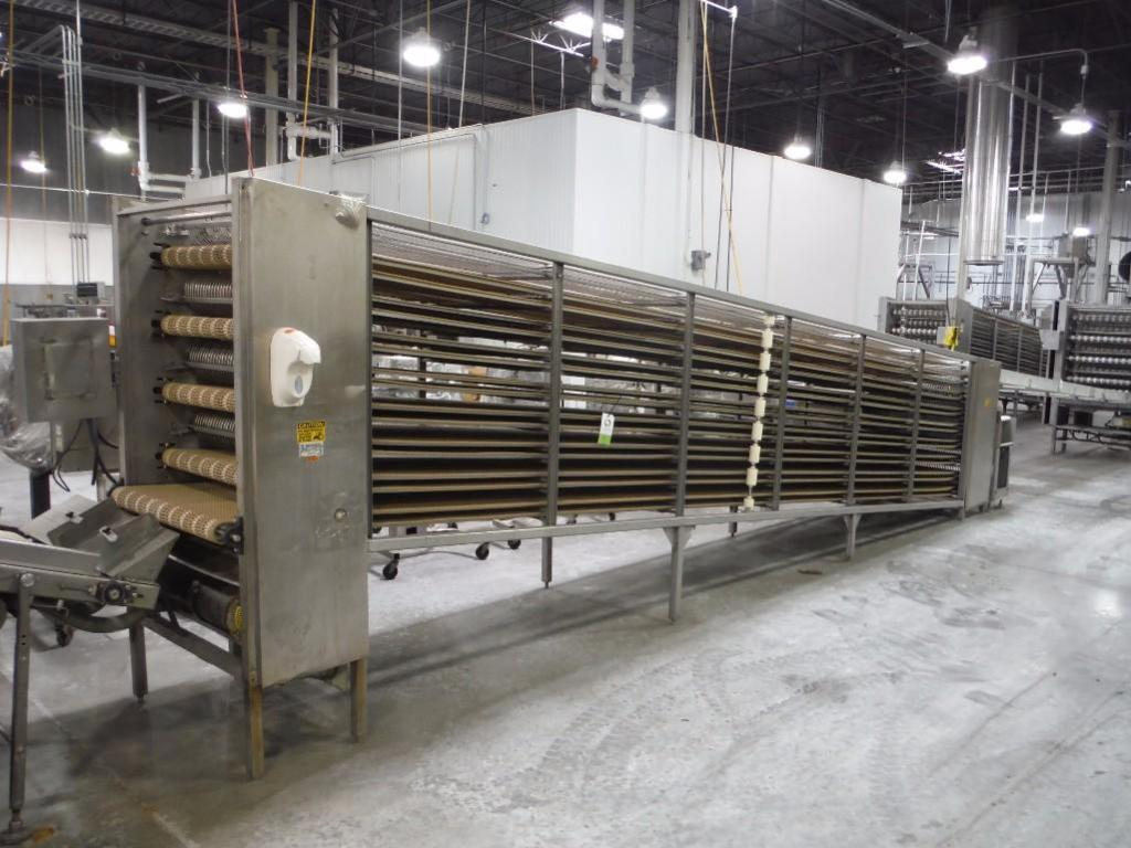 Lawrence equipment cooling conveyor, 50 ft. long x 36 in. wide x 38 in. infeed x 40 in.discharge, 9