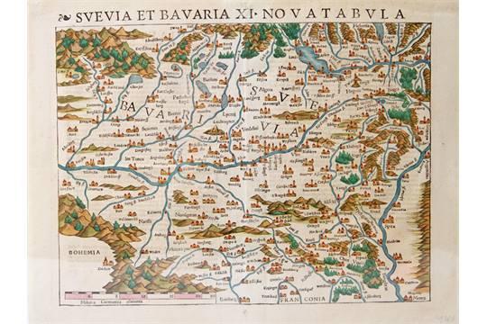 Historische Landkarte Von Schwaben Und Bayern Wohl 2 H 16 Jh