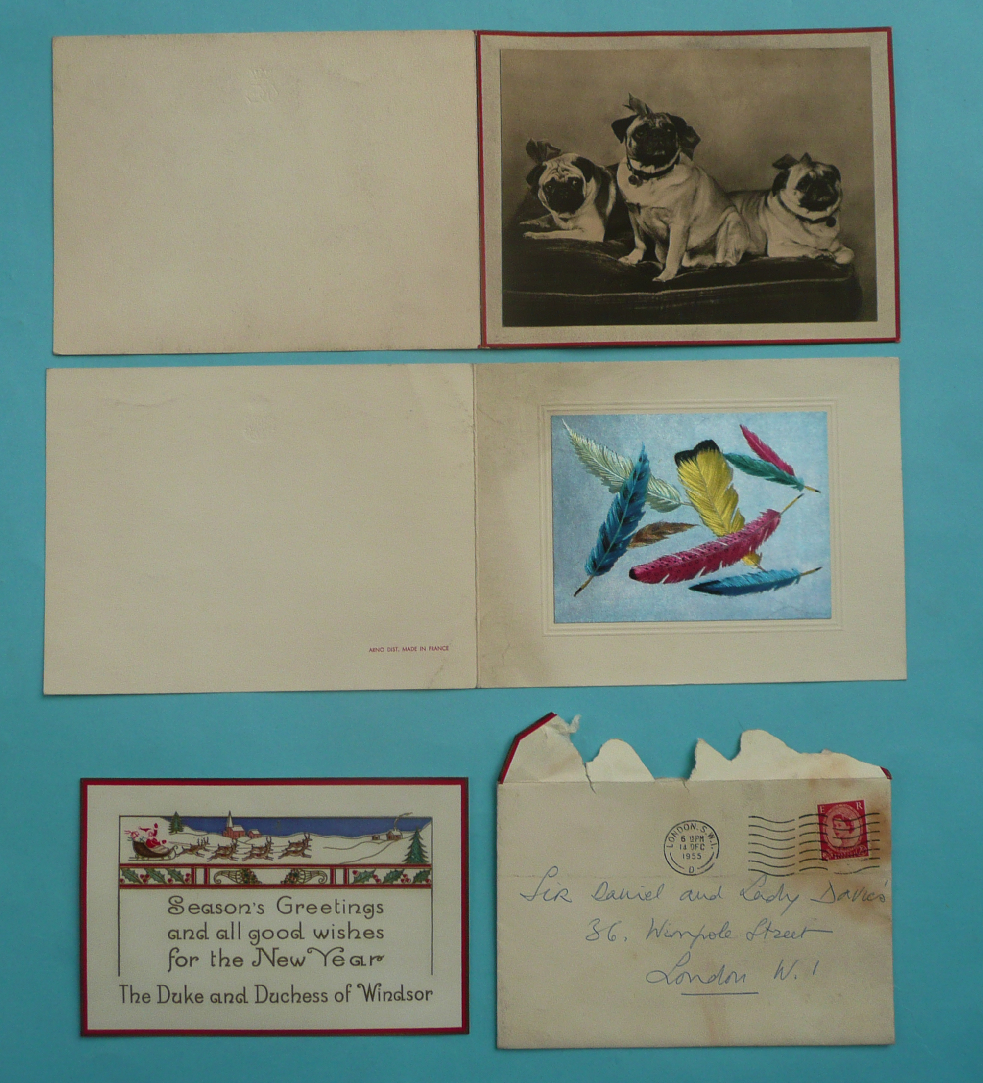 Lot 144 - Duke and Duchess of Windsor: a Christmas card together with the postal envelope franked 14 Dec
