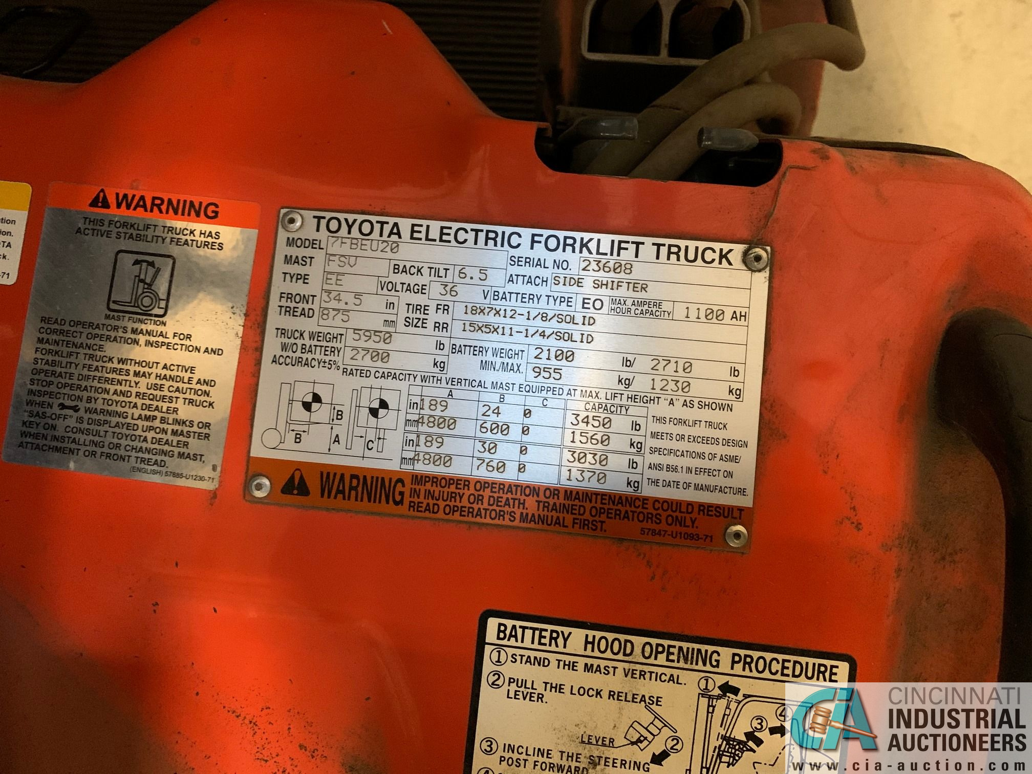 4,000 LB. TOYOTA MODEL 7FBEU20 SIT DOWN ELECTRIC LIFT TRUCK; S/N 23608 (OUT OF SERVICE) (5400 OAKLEY - Image 3 of 9