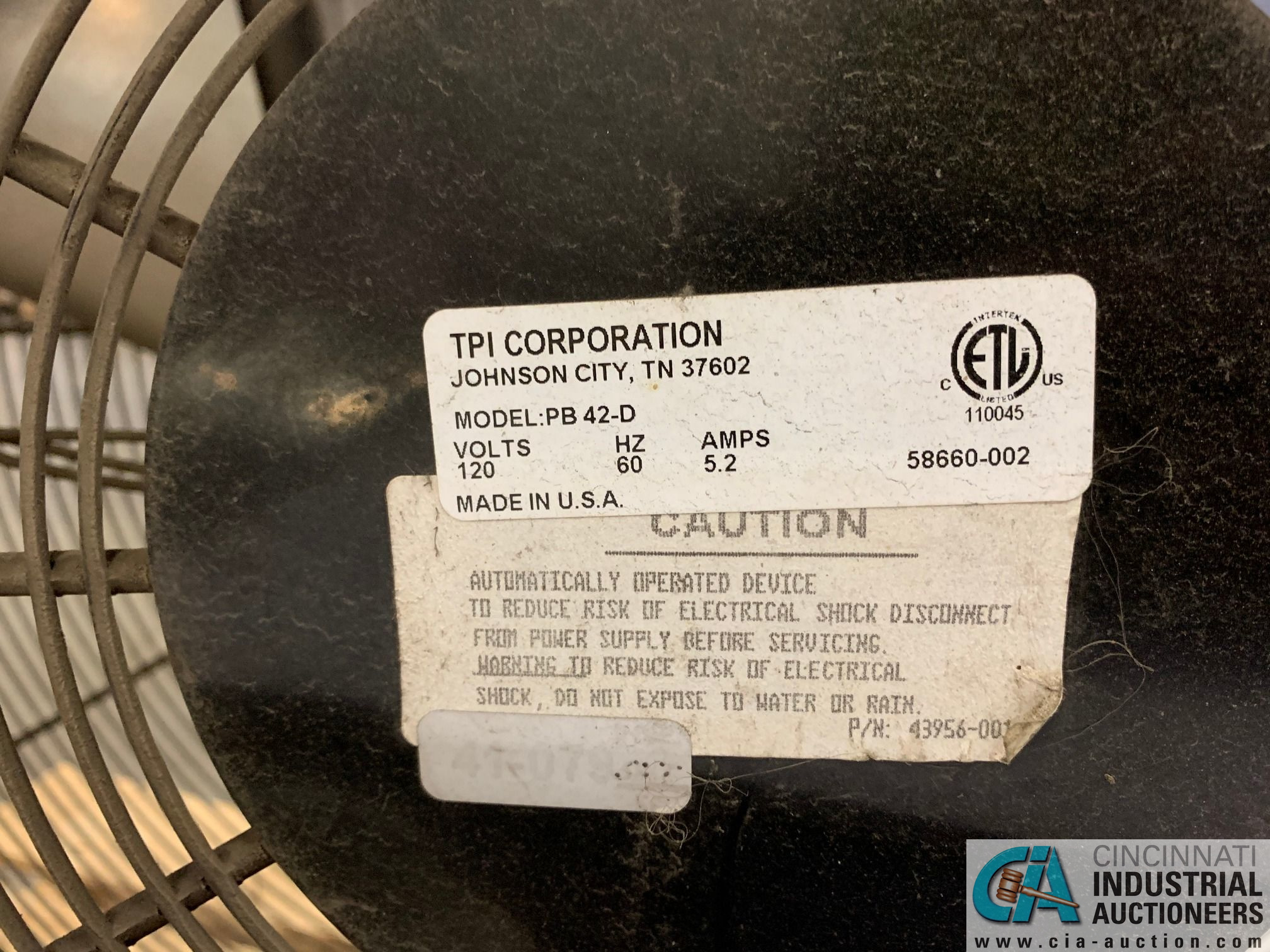 "42"" TPI PB 42-D PORTABLE DRUM FANS (5400 OAKLEY INDUSTRIAL BLVD., FAIRBURN, GA 30213) - Image 5 of 6"