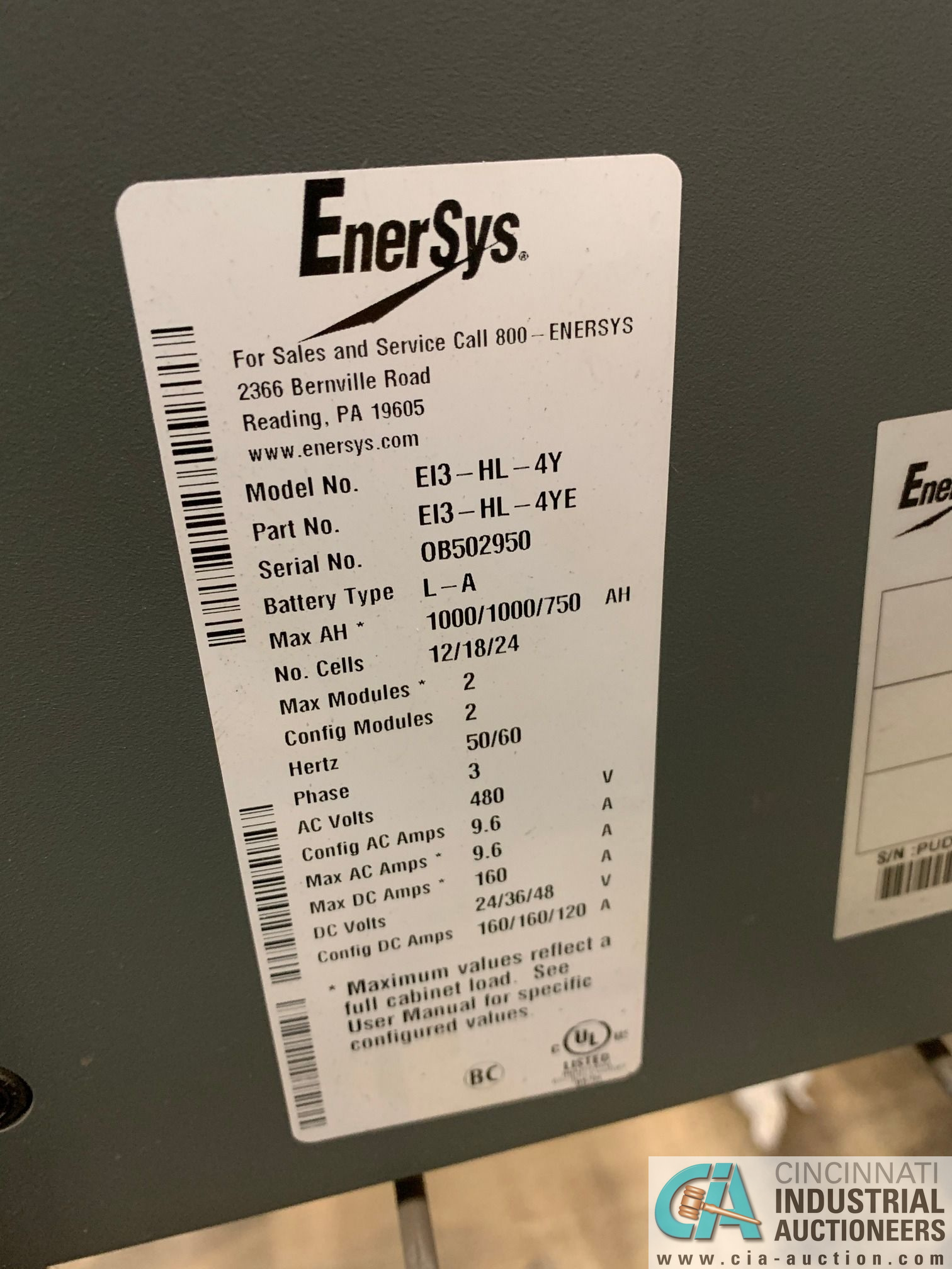 24-VOLT ENERSYS MODEL EI3-HL-4Y BATTERY CHARGER; S/N OB502950 (OUT OF SERVICE (5400 OAKLEY - Image 2 of 3