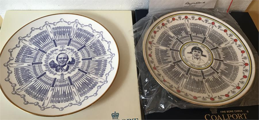 Lot 29 - Two Coalport plates and with original boxes celebrating G.Boycott Century of Centuries, 1963-1977