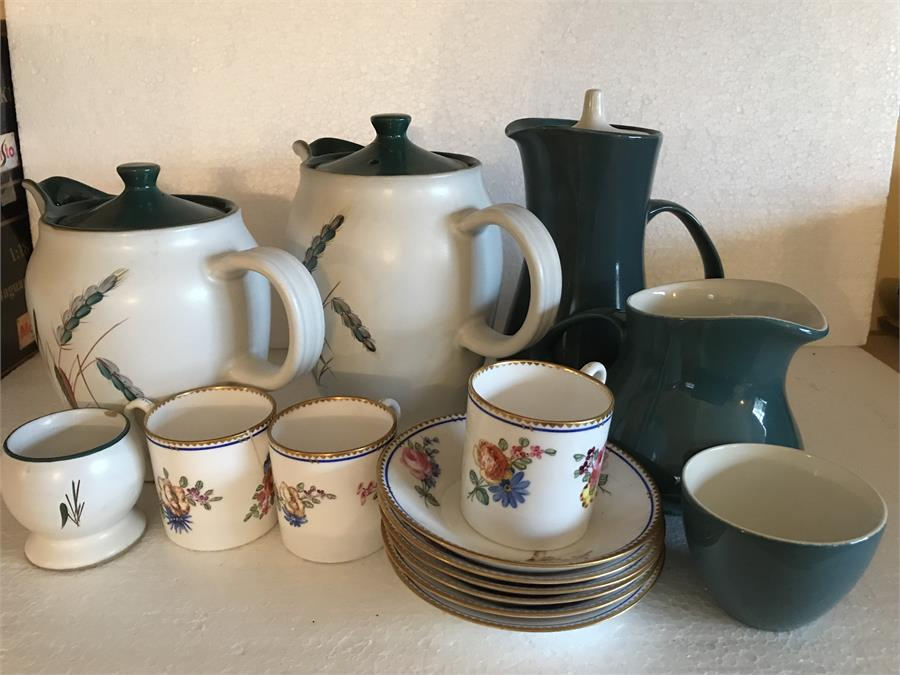 Lot 34 - 3 Coalport coffee cans 1a/f , 6 Saucers 1/af, Denby Wheatsheaf pattern jugs and bowl a/f to teapot