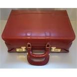 Vintage Retro Custom Red Leather Brief Case Presto Combination Lock (Unlocked)