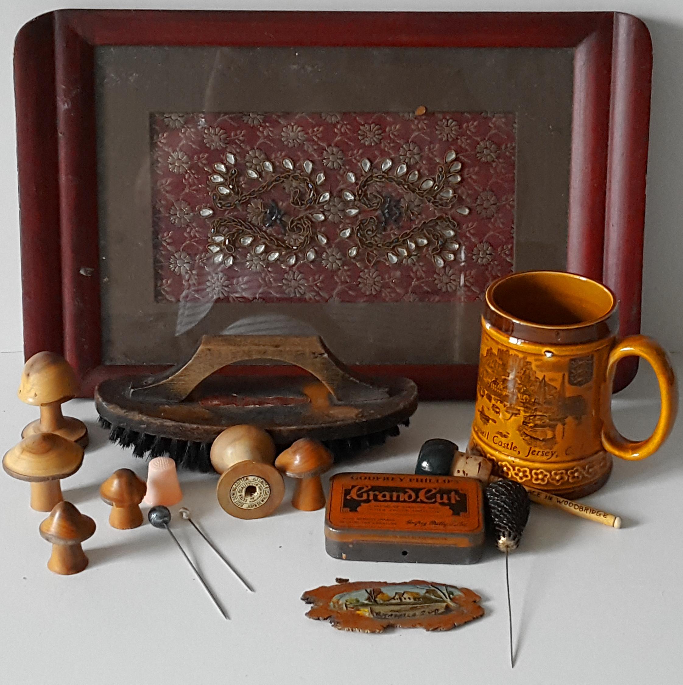 Lot 47 - Vintage Retro Tray, Turned Wood, Hat Pins China. NO RESERVE