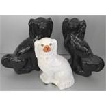 Vintage Retro 3 x Ceramic Staffordshire Dog Figures NO RESERVE