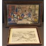 Antique Vintage Prints. Georgian 'Blinds Man's Buff' Colour Print & Wainwright Ullswater Signed