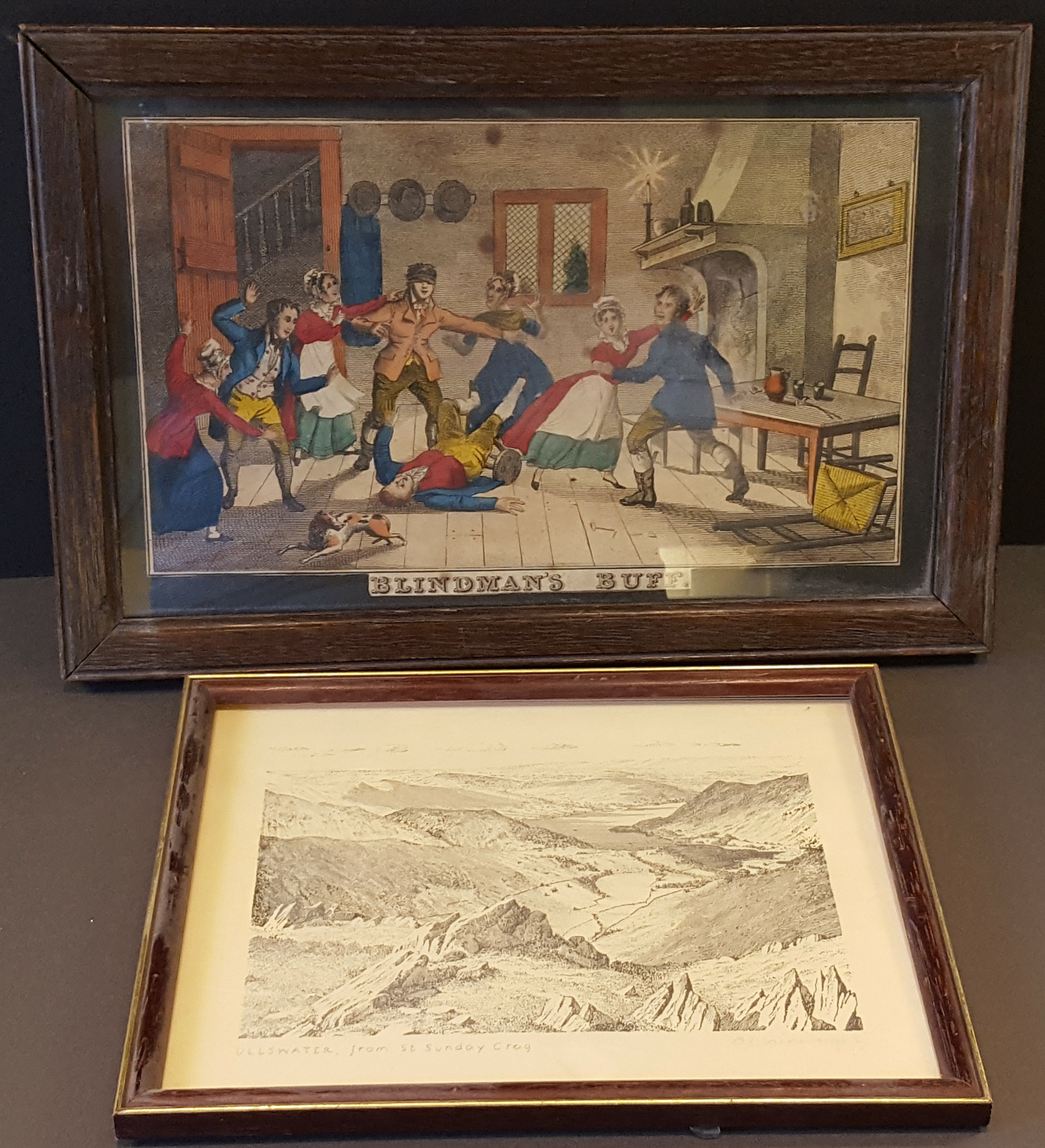 Lot 11 - Antique Vintage Prints. Georgian 'Blinds Man's Buff' Colour Print & Wainwright Ullswater Signed