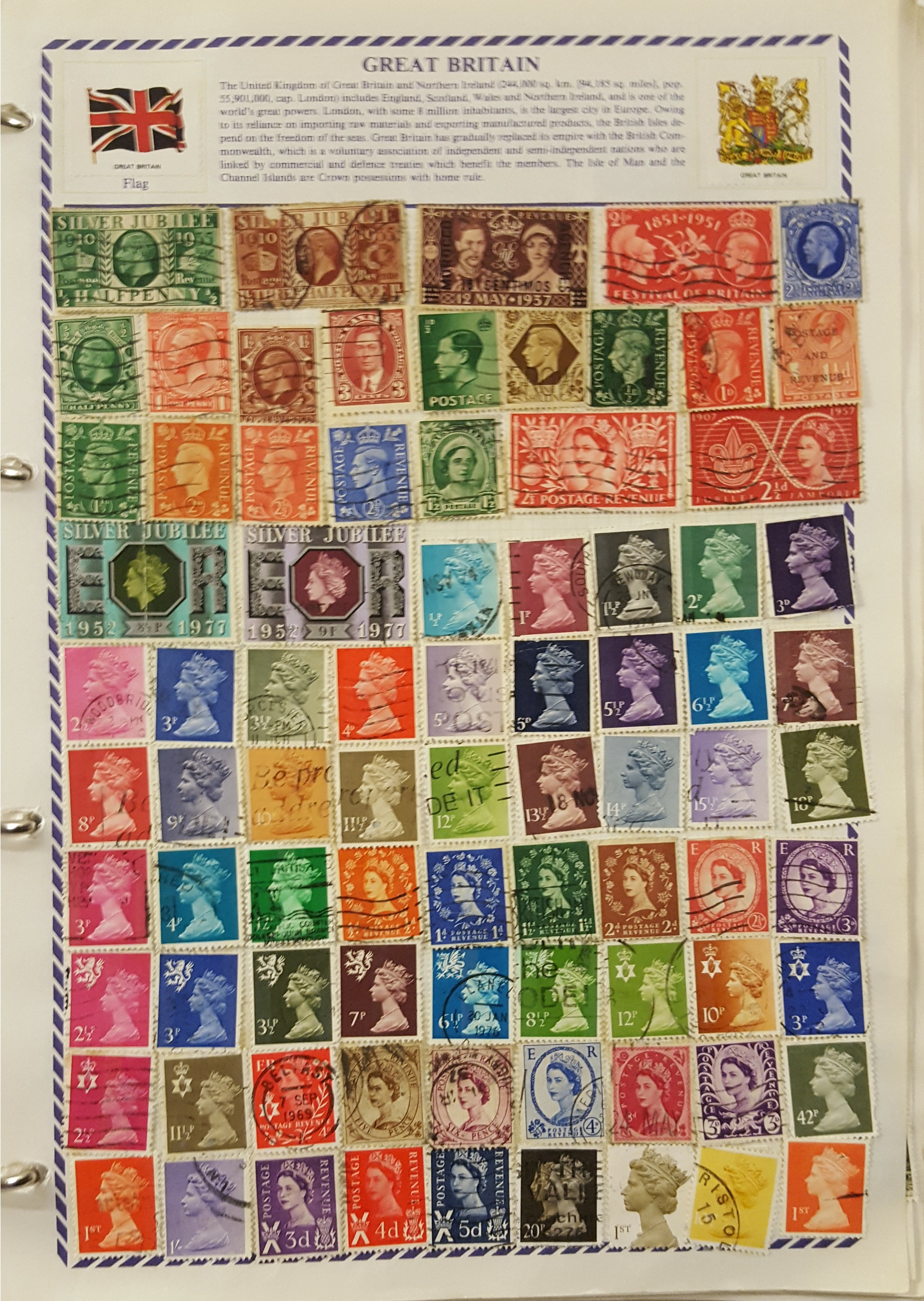 Lot 56 - Philatelia Stamp Album Loose Leaf 600 Plus Great Britain Commonwealth & World Stamps