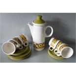 Vintage Retro Myott 'Mardigras' Coffee Pot Cups, Plates & Part Dinner Service (40 items)