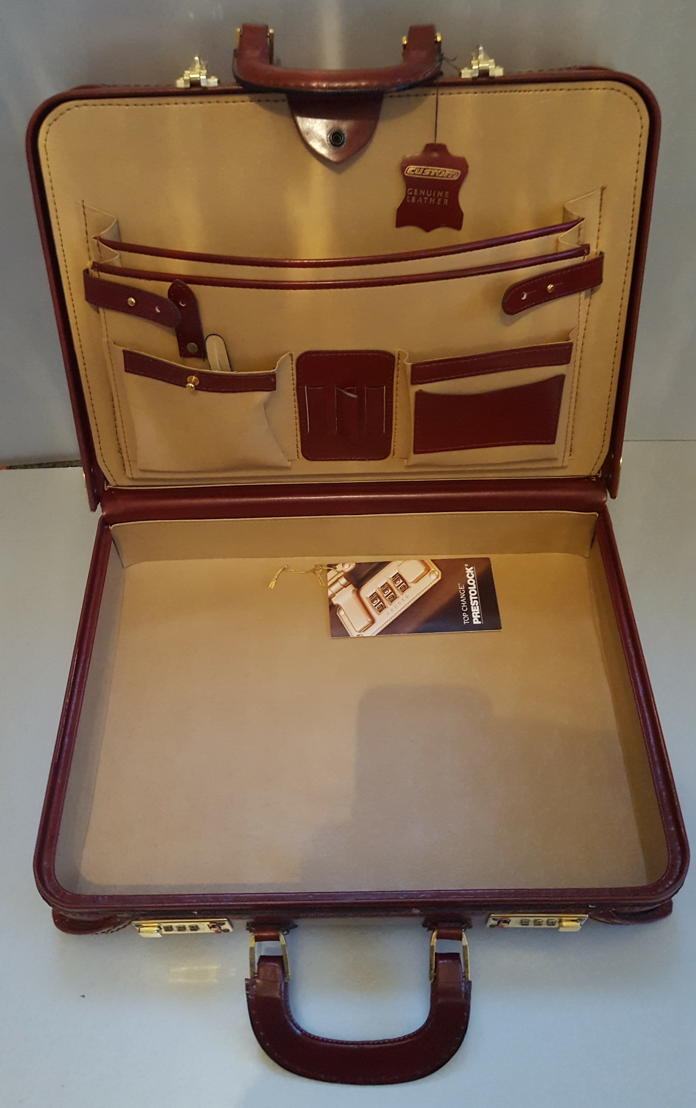 Lot 58 - Vintage Retro Custom Red Leather Brief Case Presto Combination Lock (Unlocked)
