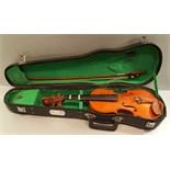 Vintage Retro Stentos Students Violin in Original Case With Bow.