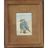 Antique Vintage Watercolour Painting, Cartoon Style, Children on the Sea Front Promenade