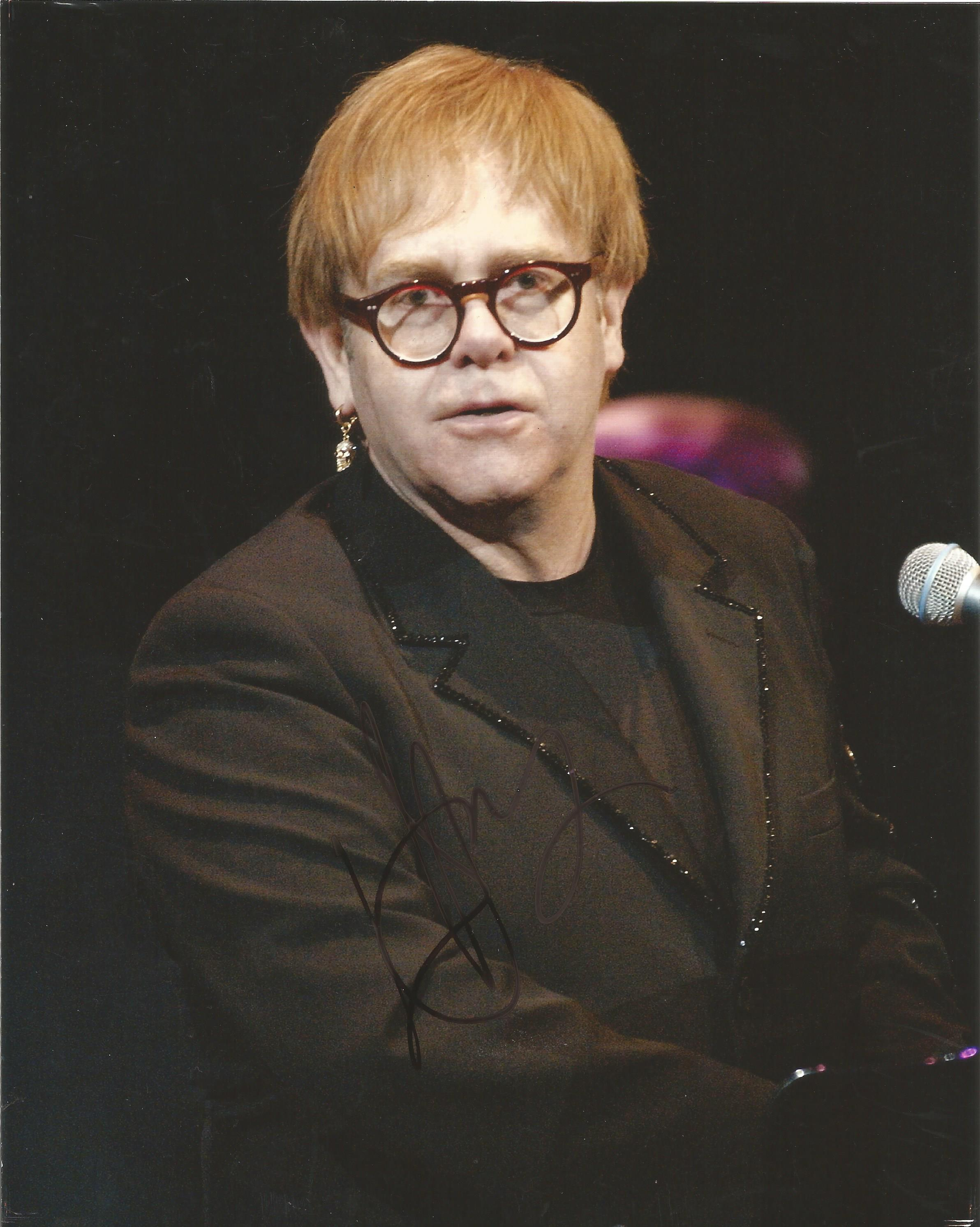 Lot 52 - Elton John signed 10 x 8 colour Music Promo Portrait Photo, from in person collection autographed at