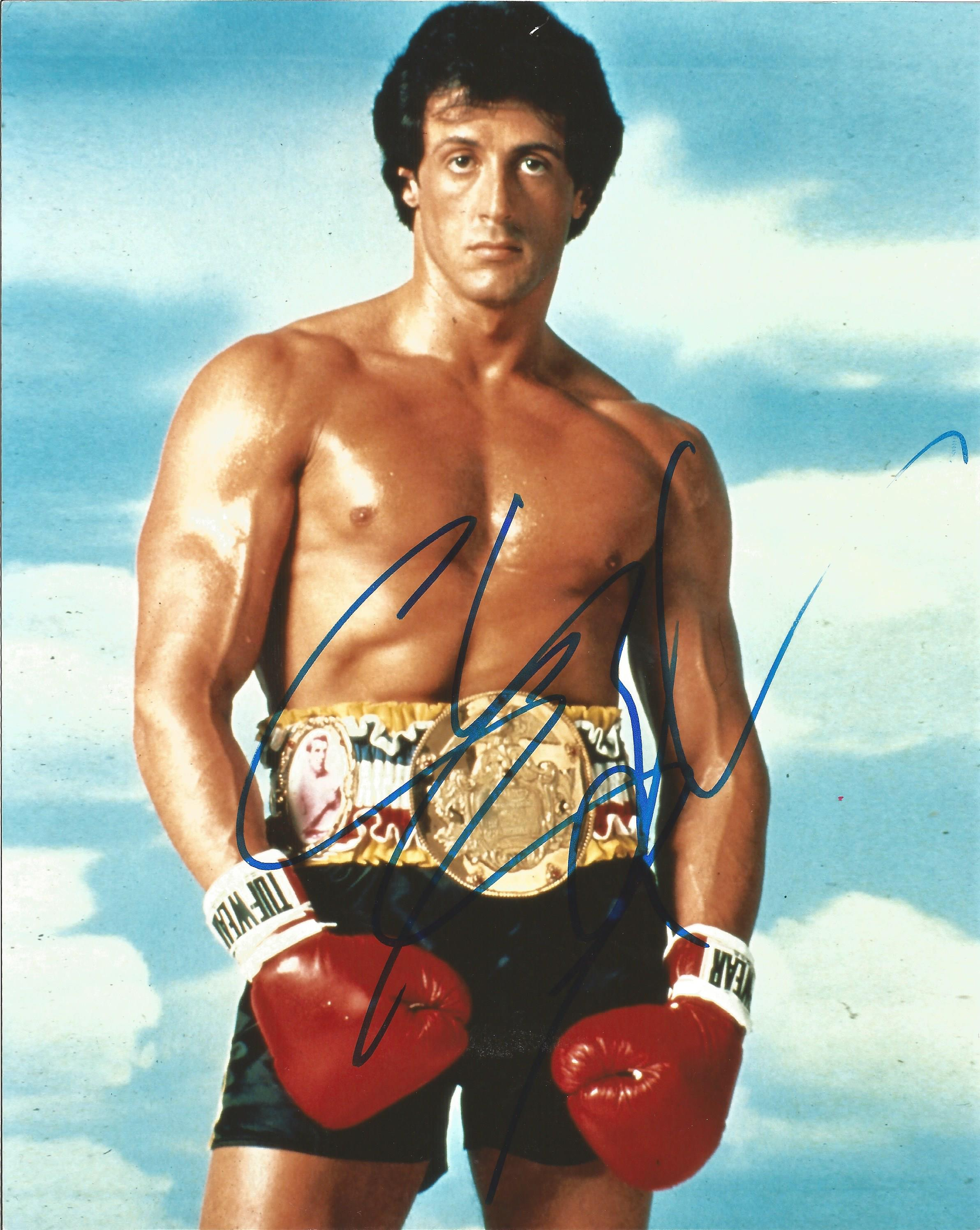 Lot 33 - Sylvester Stallone signed 10 x 8 colour Rocky Portrait Photo, from in person collection