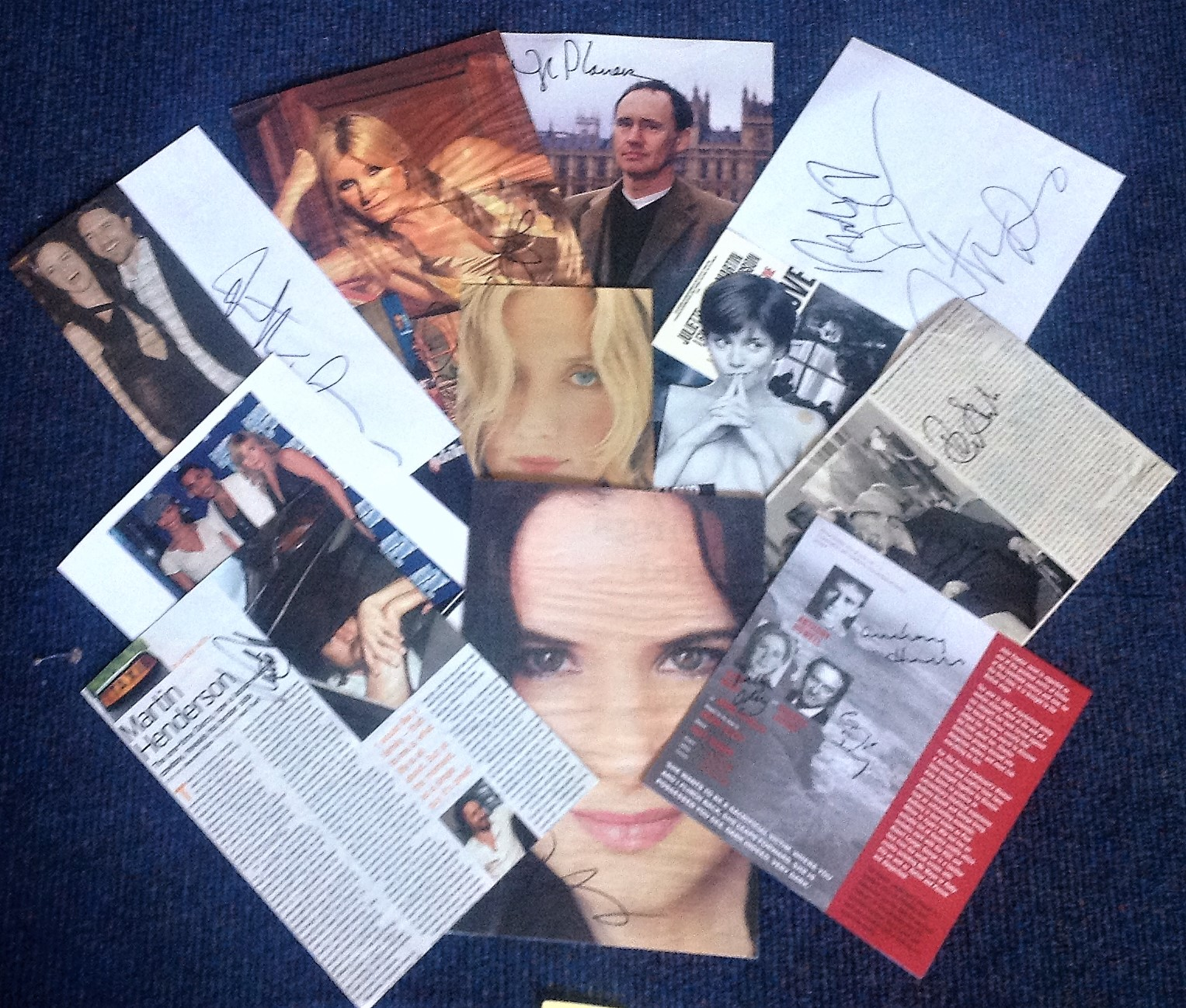 Lot 22 - Assorted TV/film signed collection. 1 items. Variety of flyers and newspaper photos all signed. Some