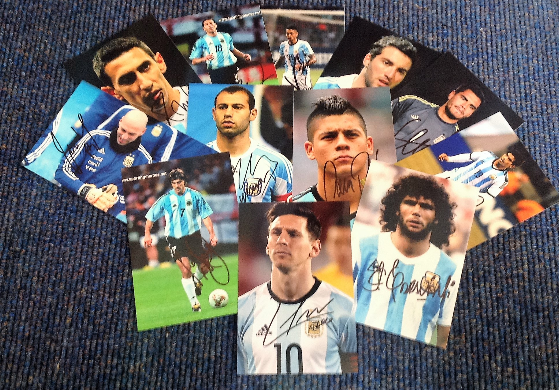 Lot 10 - Argentinian past and present footballers signed 6x4 photo collection. 12 photos each individually