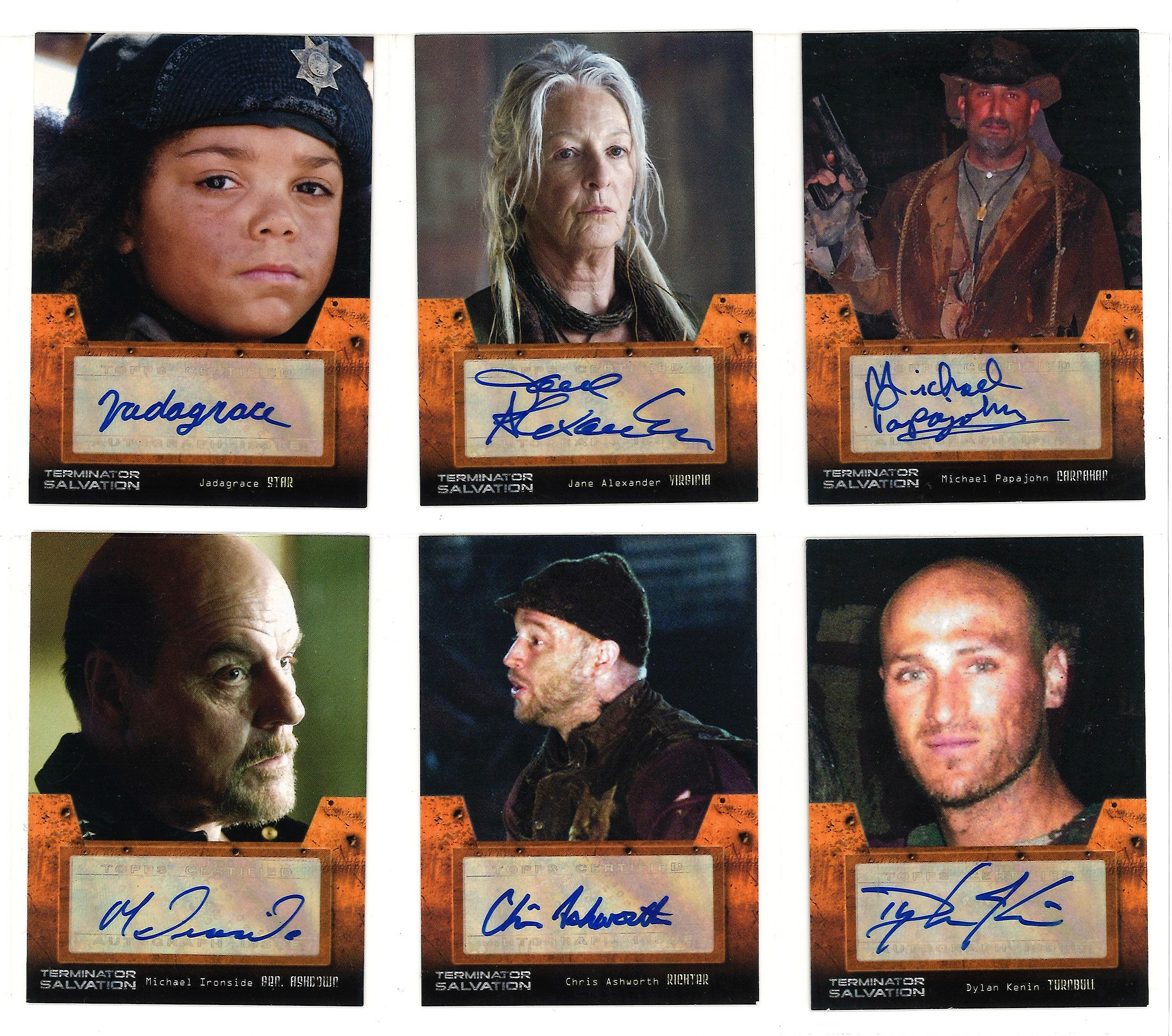 Lot 4 - Terminator Salvation Limited edition collection of 6 autographed Topps trading cards. Each card