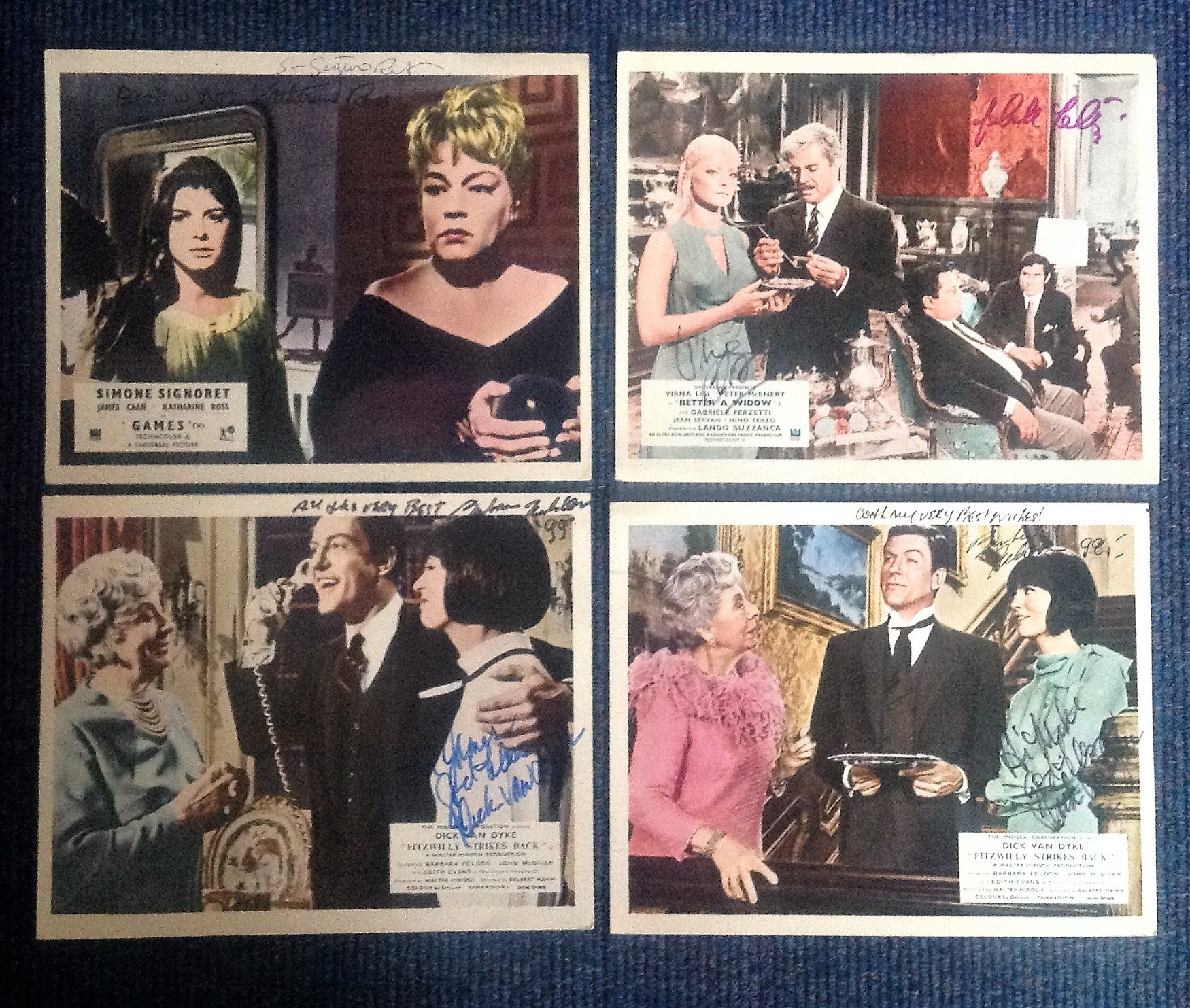 Lot 13 - Lobby card collection. 5 lobby cards signed. Amongst the signatures are Gabrielle Ferzetti,