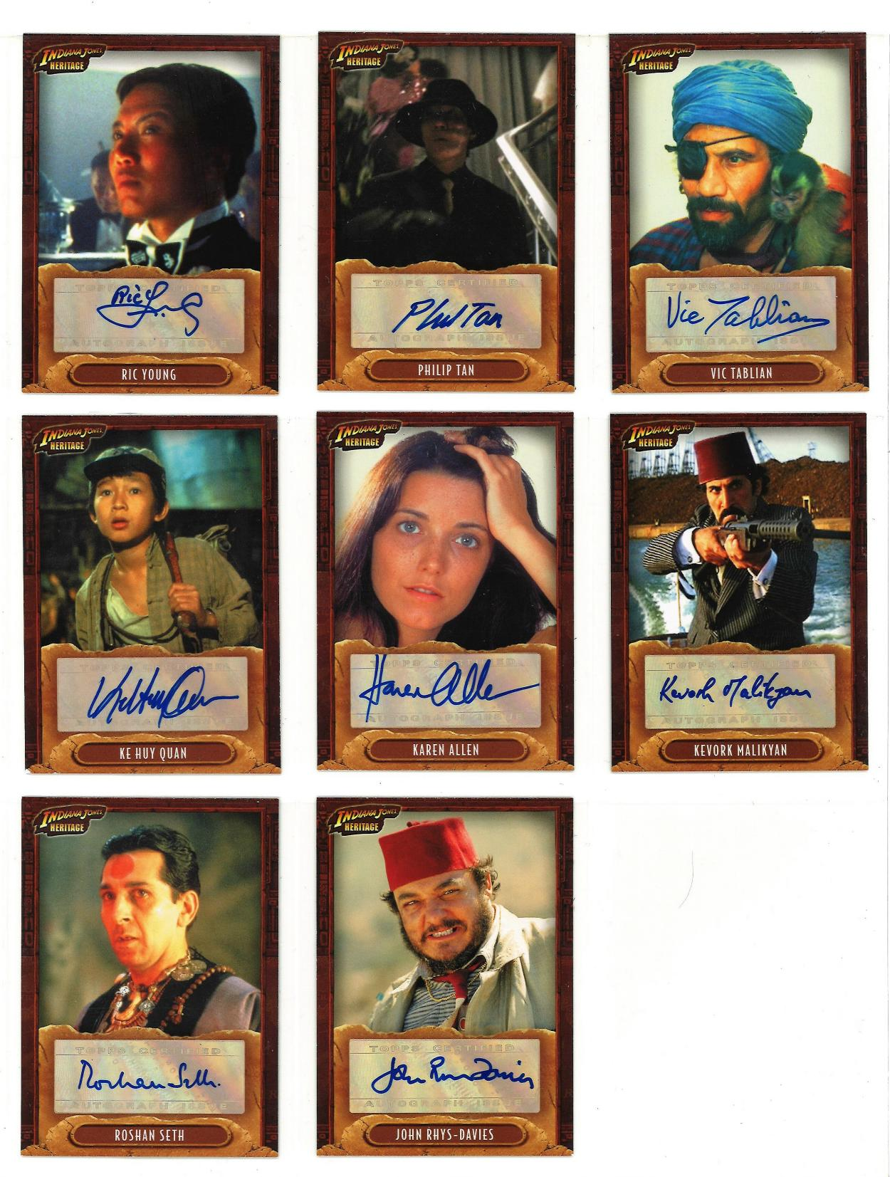 Lot 2 - Indiana Jones Heritage Limited edition collection of 17 autographed Topps trading cards. Each card
