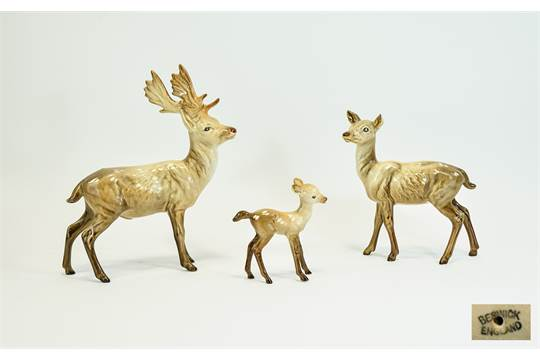 Beswick Animal Figures 3 Stag Doe Fawn 1 Standing Model No 981 Height 8 Inches