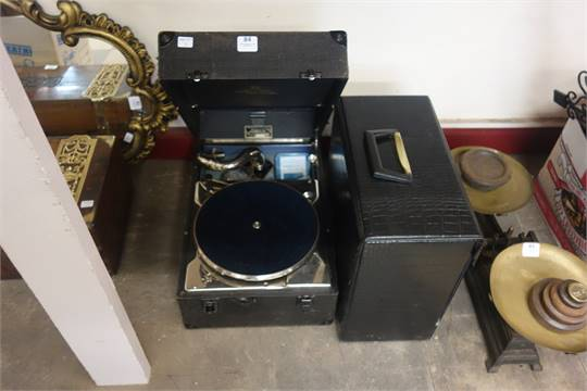 A Decca 130 gramophone with a collection of 78rpm records