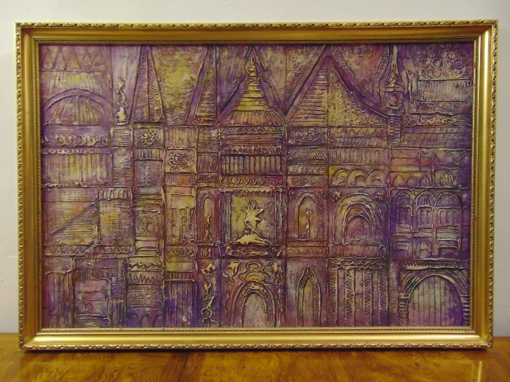 Jack Ray framed acrylic abstract of architectural facades, signed bottom right, 60 x 90cm