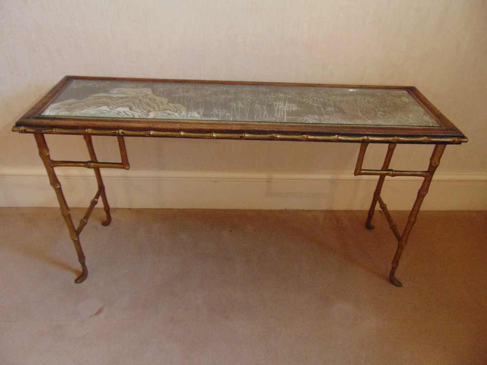 Lot 19 - A gilt metal and glass rectangular side table on simulated bamboo legs