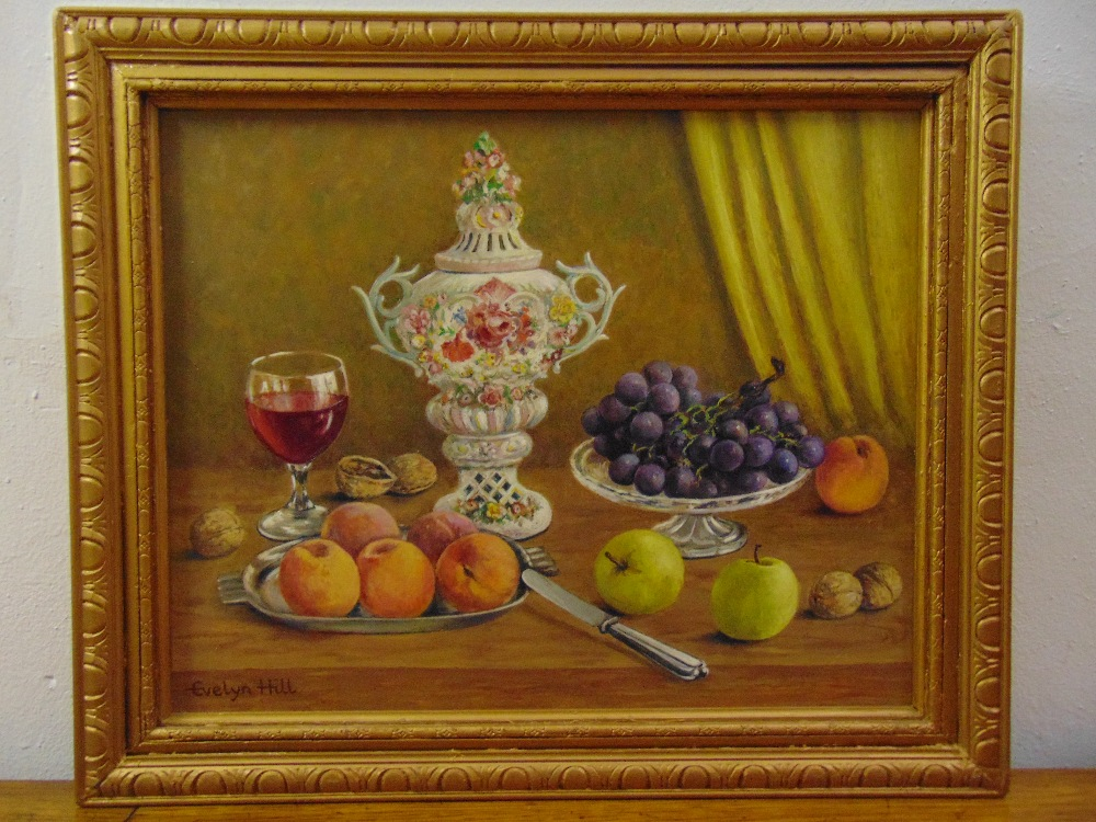 Evelyn Hill framed oil on panel still life with fruit and a glass of wine, signed bottom left, 35